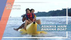 Tawa Riang dan Jerit Senang Menghiasi Terbaliknya Banana Boat di Pantai Patuno Sulawesi Tenggara