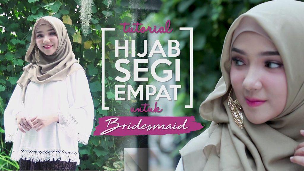 Jadi Bridesmaid Cantik ala Ayu Indriati dengan Hijab Segi Empat