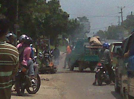 Motor TNI Terbakar