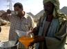 Pekerja peternakan sibuk menyaring susu onta untuk dijual kepada peziarah. Satu botol susu onta dengan ukuran 500 mililiter dihargai 5 riyal.