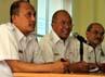 Direktur Komersial PT KAI Sulistio Wimbo Harjito menyampaikan keterangan seputar pelayanan arus mudik Lebaran 2012. Agung Pambudhy/detikcom.