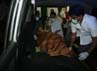 Ambulans yang membawa jenazah Zaidun bin Basir dan Zulkifli bin Mohd Basir, berangkat dari RSU Djasamen Saragih, Pematang Siantar, Kamis (28/6/2012) tengah malam. Khairul Ikhwan/detikNews