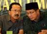 Fauzi Bowo (Foke) berbincang dengan Lukman Hakim Saifuddin. Dalam mendukung Foke, PPP akan maksimal mendukung, terlebih jika Foke terpilih lagi jadi Gubernur Jakarta.