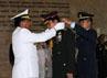 Panglima TNI Laksamana TNI Agus Suhartono menyematkan Tanda Kehormatan Bintang Kartika Eka Paksi Utama kepada Kasad Thailand Jenderal Prayuth Chan-Ocha di Mabes TNI, Cilangkap, Jakarta Timur. (Puspen TNI).