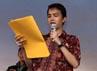 Para PKL yang dipimpin oleh Yudhi Lazuardi membacakan deklarasi dukungan kepada Ical.