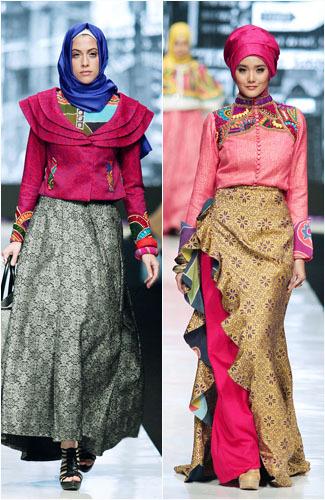 Hijab Style Permainan Batik Color Block Ala Dian Pelangi