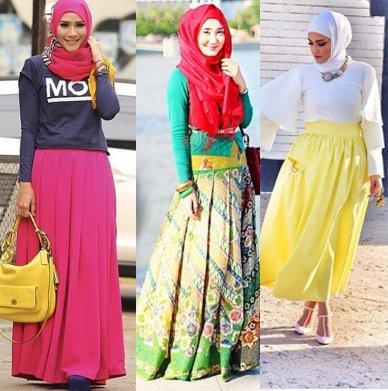 Hijab Style Cara Hijabers Padu Padan Rok Lipit Dari Artis Hingga
