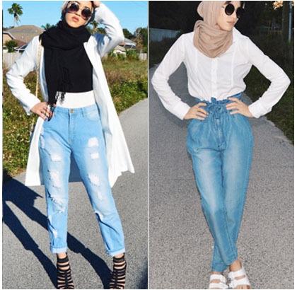 Hijab Style Padu Padan Jeans Ala Hijabers Palestina Sally Omo