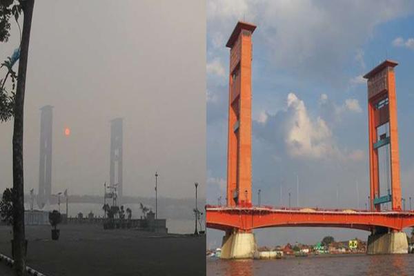 Begini Jembatan Ampera Sebelum Sesudah Asap Miris