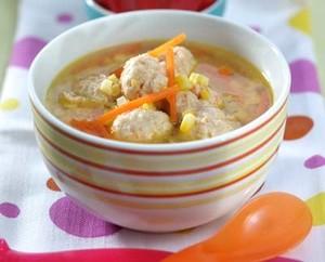 Resep Sup : Sup Jagung Bola Ayam Wortel