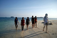 from right nova, mala, riri, indah, febri, of course me..We are friends forever at Kayuangin Island