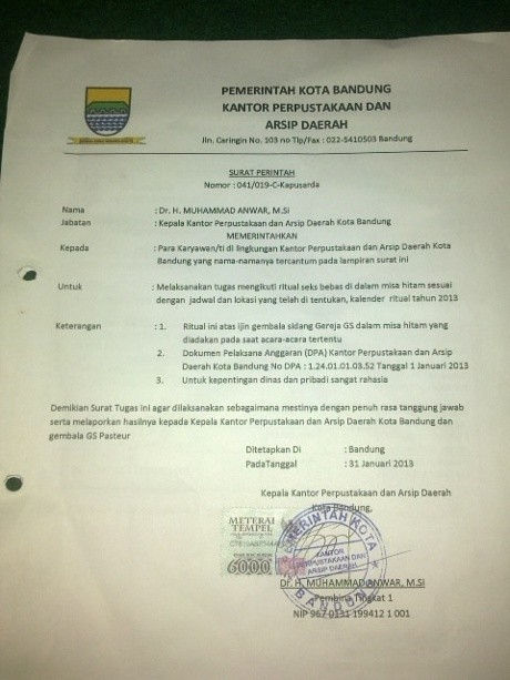 Ini Isi Surat Perintah Ritual Seks Bebas di Kalangan PNS Bandung