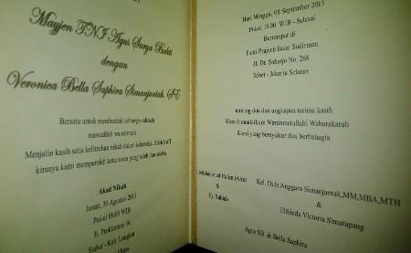 Beredar Undangan Pernikahan Bella Saphira dengan Mayor Jenderal Agus