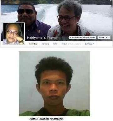 Nurhamdi (bawah) dan Facebook Hajriyanto (atas)