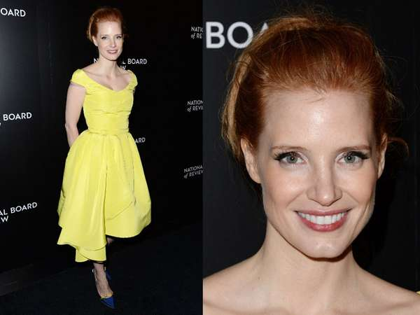 Dress Kuning ala Jessica Chastain