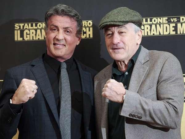 Sylvester Stallone dan Robert De Niro di Sesi Foto Grudge Match