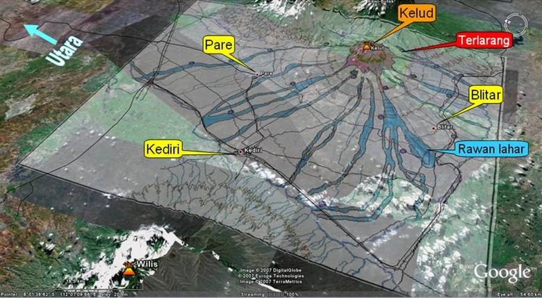 Ini Peta Daerah Rawan Bencana Gunung Kelud