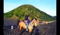 Salah satu pemilik kuda di depan Gunung Batok