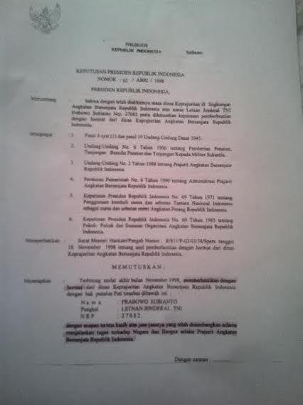 Ini Isi Lengkap Keppres Pemberhentian Letjen Prabowo Subianto