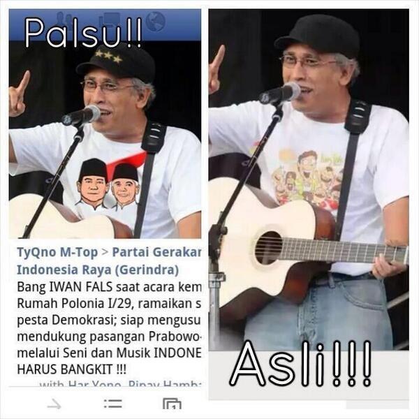 Adu Pendapat Seputar Pilpres Fotonya Diedit Dukung Prabowo Hatta Di Twitter Iwan Fals Berang Detikpemilu