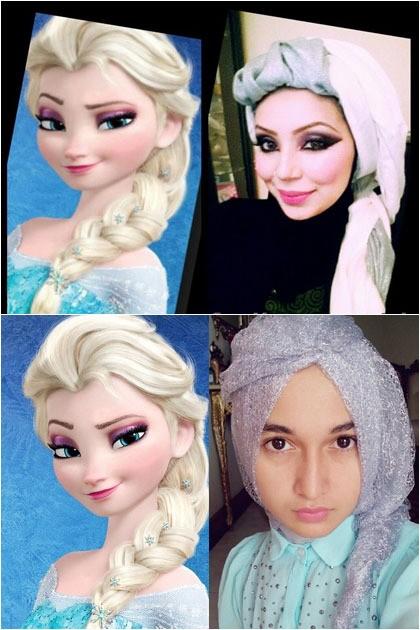 Hijab Style 5 Hijabers Bergaya Ala Elsa Frozen