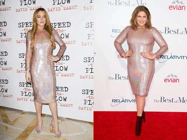 Siapa Lebih Berkilau dengan Dress ini, Lindsay Lohan atau Hillary Scott?