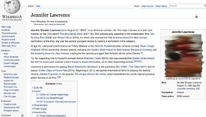 Hacker Ganti Foto Wikipedia Jennifer Lawrence dengan Foto Bugil