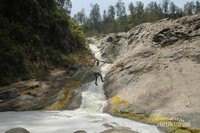Aliran air terjun yang berada tidak jauh dari gerbang Kawah Ijen, yang bisa dinikmati sebagai background foto saja