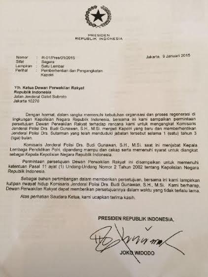 Jokowi Diminta Tarik Surat Pencalonan Komjen Budi Gunawan di DPR