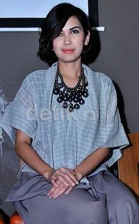 Dinda Kanya Dewi saat ditemui di acara peluncuran teaser film 'Tuyul' di Amaya Restaurant, Jalan Veteran I, Jakarta Pusat, Selasa (27/1). Pool/Noel/detikFoto.