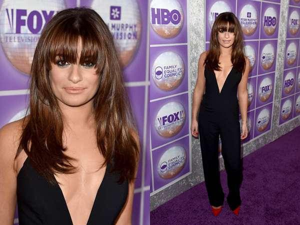 Lea Michele Dibalut Jumpsuit Berbelahan Dada Rendah
