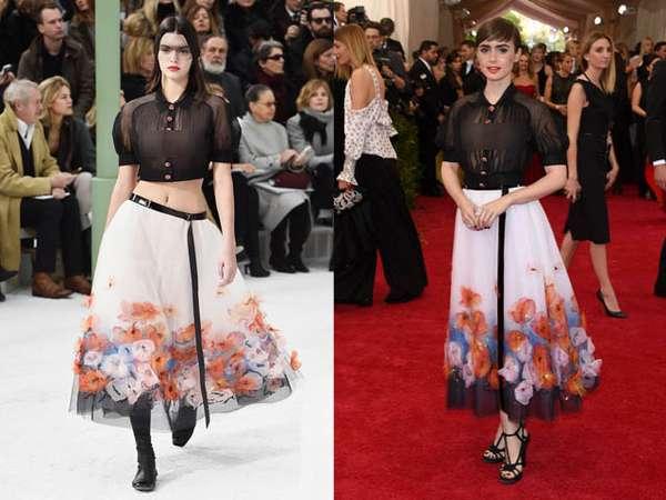 Siapa Lebih Cocok Kenakan Baju Menerawang Ini, Kendall atau Lily Collins?