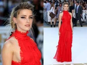 Amber Heard Cantik Bergaun Merah, Johnny Depp Pasti Terpesona