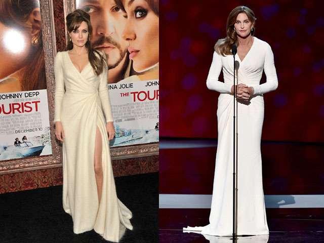 Siapa Lebih Elegan Bergaun Putih, Angelina Jolie atau Caitlyn Jenner?
