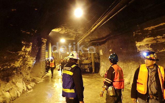 Foto: Tambang bawah tanah Freeport di Grasberg, Papua