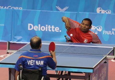 Salah satu kontingen Indonesia saat berlaga cabor tennis meja di Asian Para Games 2018 | Detik.com