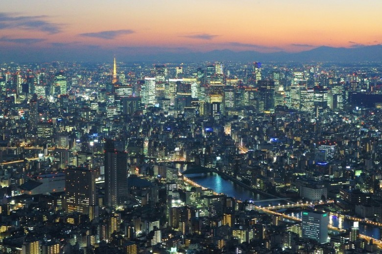 Sunset sempurna dari Tokyo Skytree Tower, Jepang (Ari Saputra/detikTravel)