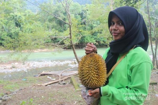 Model : Mega memegang Durian Leupung