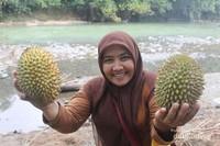 Nurbeti memegang durian