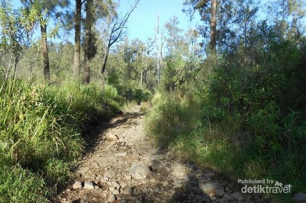 Jalur pendakian awal, berbatu dan menanjak
