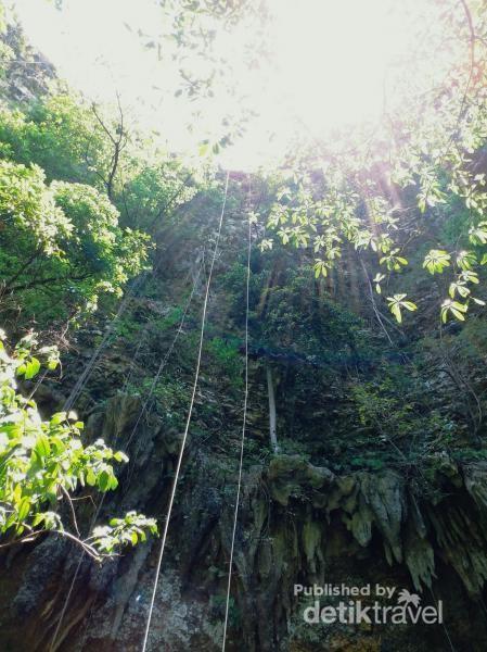 Menuruni gua jomblang setinggi 60 meter