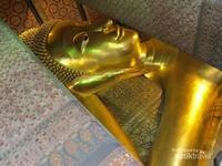 Seluruh bagian patung Buddha ini dilapisi emas 18 karat
