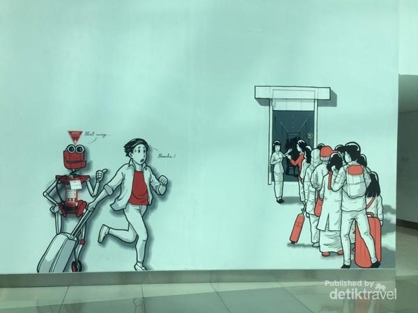 Lukisan mural di Terminal 3 Bandara Soekarno Hatta