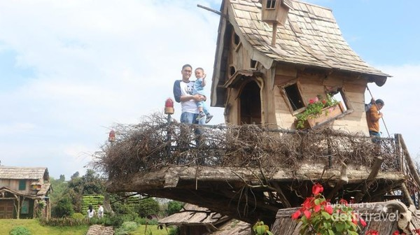 Salah satu rumah hobbit yang ada diatas pohon
