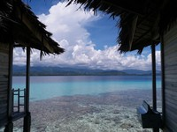 Indahnya pemandangan dari bungalow yang terdapat di Pulo Cinta