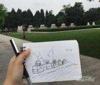 Live Sketching Tampak depan museum (penulis, 2018)
