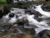 Air jernih dan segar tumpahan dari air terjun