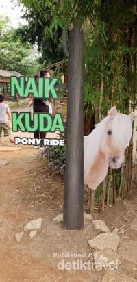 Salah satu wahana yang disediakan di tempat ini adalah menunggangi kuda pony. Ajak anak-anak untuk dapat menikmatinya dan belajar lebih dekat dengan satwa ini