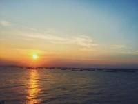 Sunset berlatar para kapal nelayan