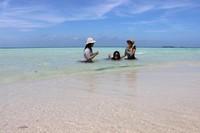 Menikmati tenangnya air laut di Pantai Cemara Kecil